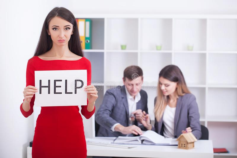 Stress woman in bad financial situation asking for help stock images