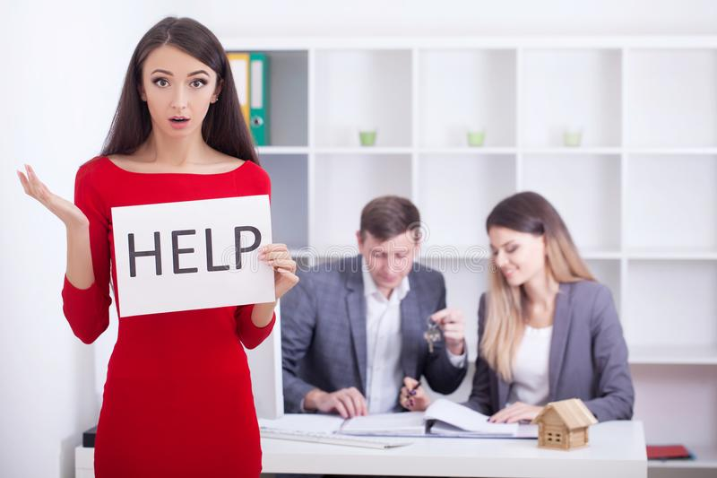 Stress woman in bad financial situation asking for help royalty free stock photos