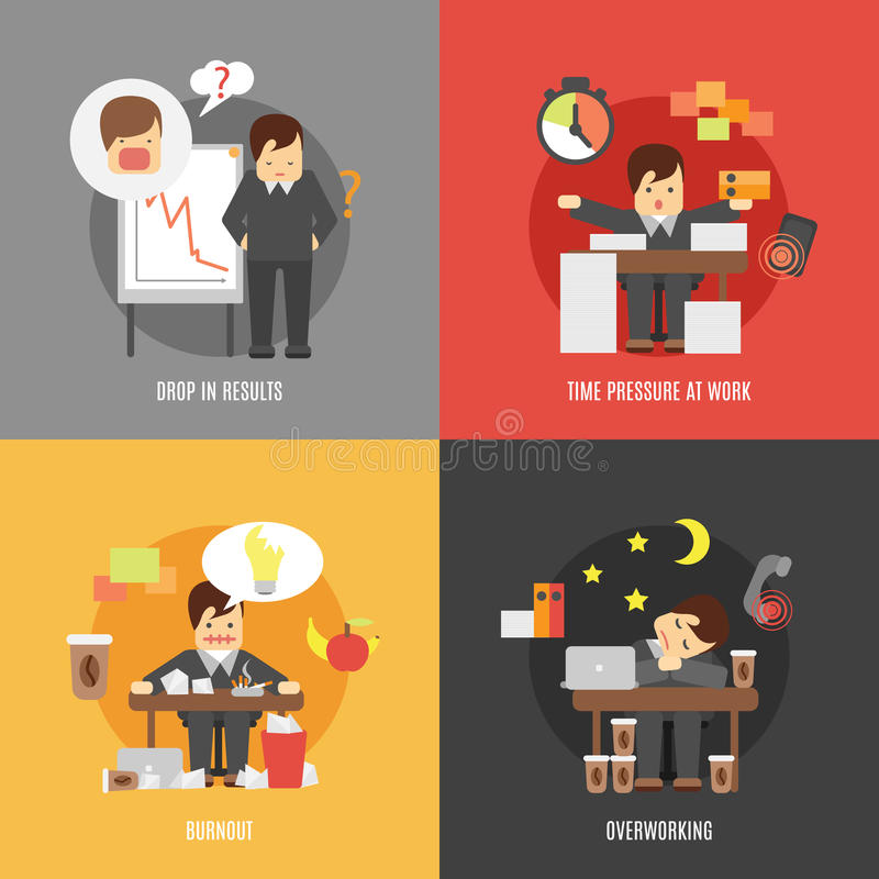 Stress at work flat icons composition. Deadline stress at work 4 flat icons composition of results drop burnout and overworking abstract vector illustration stock illustration