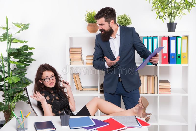 Stress at work. Girl boss. Lazy sexy secretary indifferent. Manager man business report unhappy results. Keep calm. Stress at work. Girl boss. Lazy sexy stock image