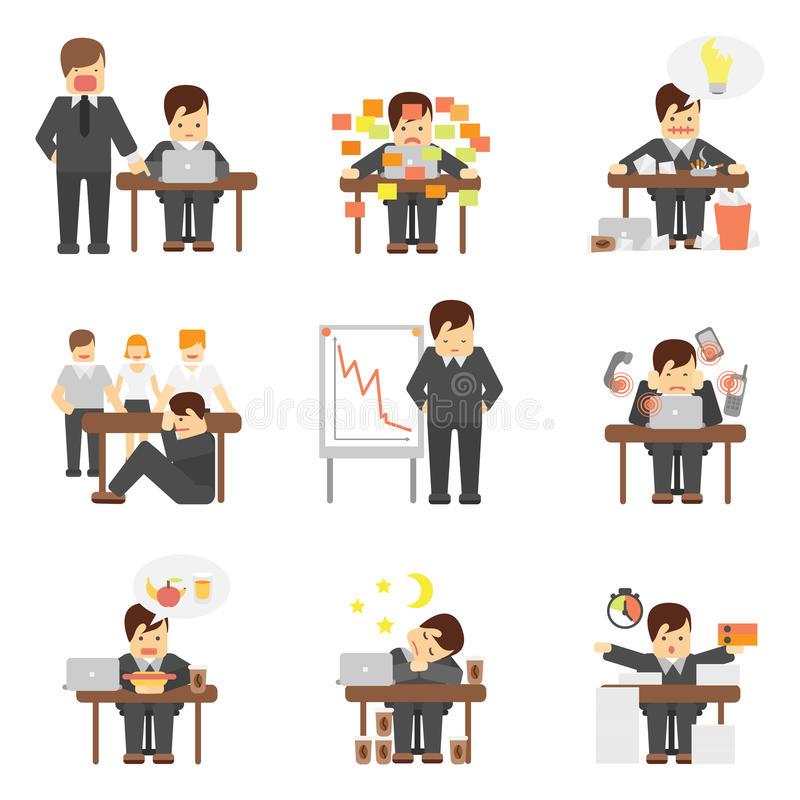 Stress at work icons set. Stress at work dropping results graphic angry boss cartoon characters flat icons set abstract isolated vector illustration stock illustration