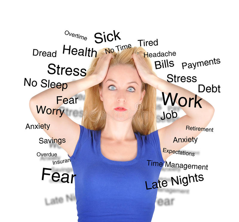 Stress Worry Woman with Text on White. A woman in a blue shirt is isolated on a white background and has text describing her worries and fears from work to debt royalty free stock photos