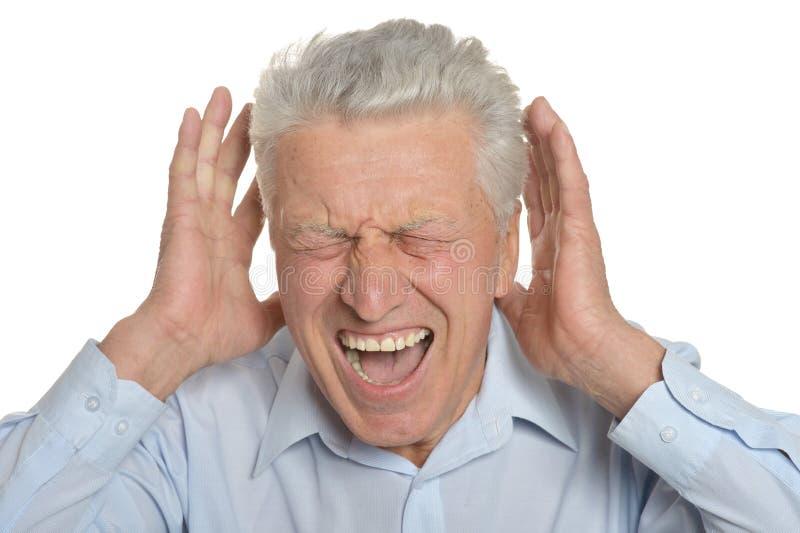Stressad äldre man fotografering för bildbyråer