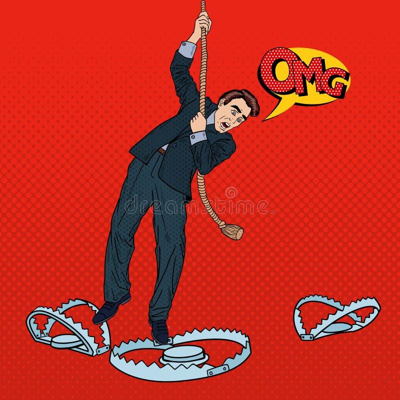 Stressad affärsman på repnedgångarna in i fällan Popkonst stock illustrationer