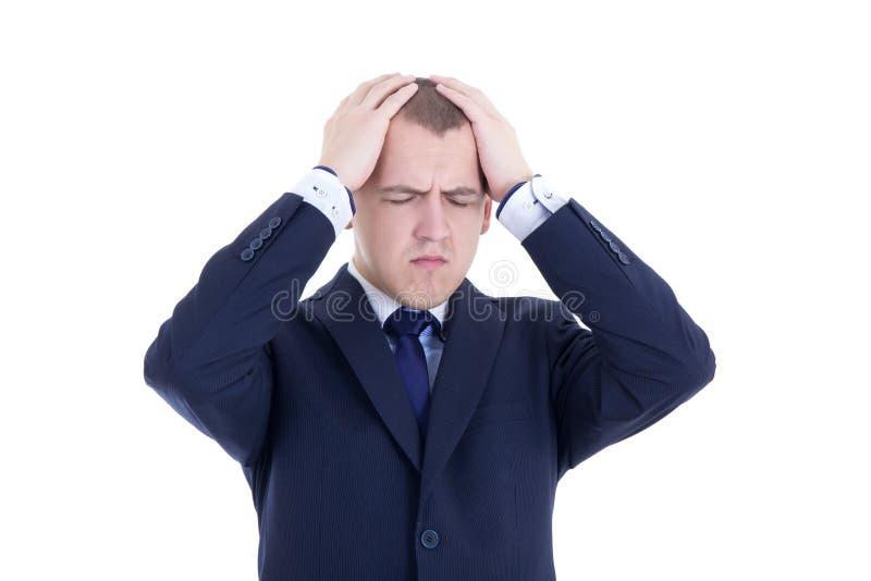 Stressad affärsman som isoleras på vit royaltyfri fotografi