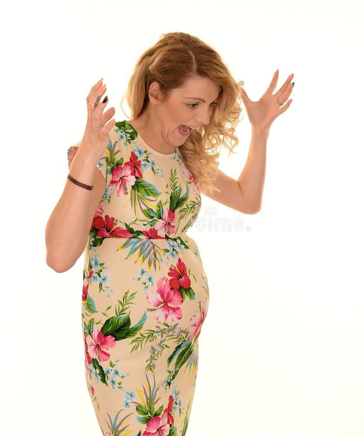 Stressad gravid kvinna arkivfoto