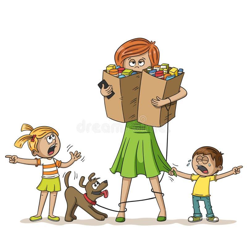 Stressad kvinna med barn stock illustrationer