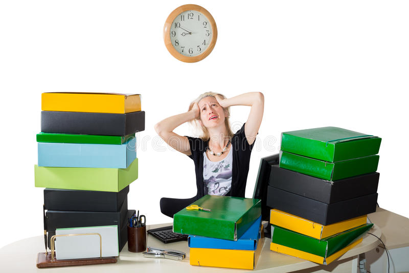 Stressad kvinna: Stopptid i dag royaltyfria bilder