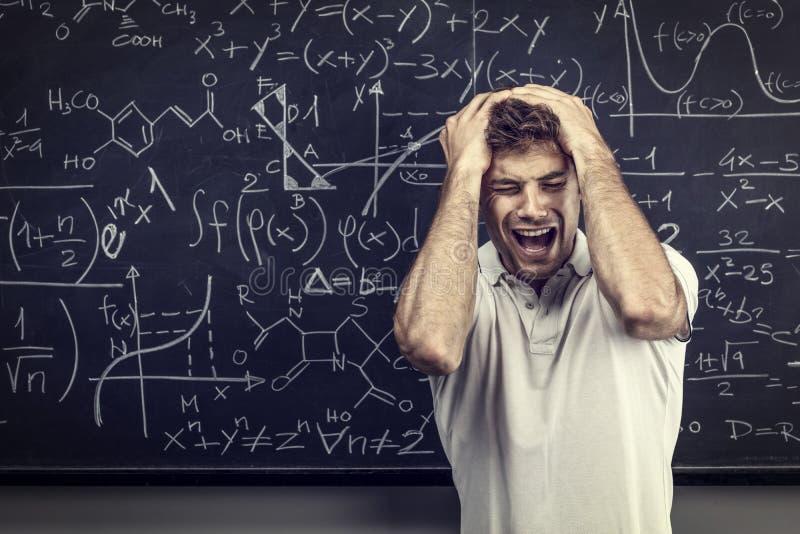 Stressad lärarestående royaltyfri bild