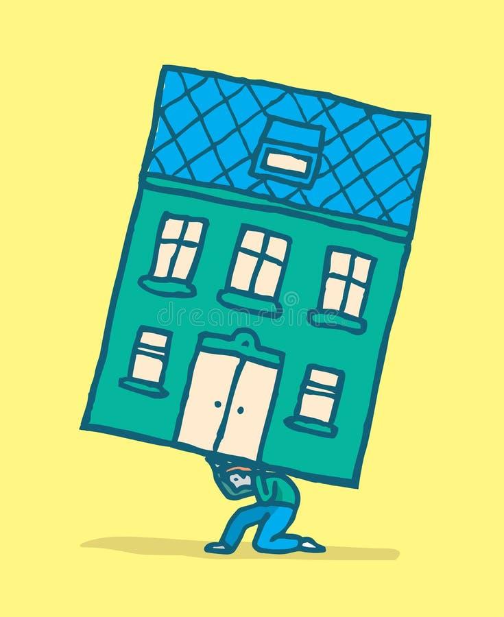 Stressad man som flyttar hans hus på hans baksida vektor illustrationer