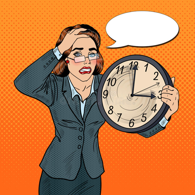 Stressad pop Art Business Woman med den stora klockan på stopptidarbete stock illustrationer