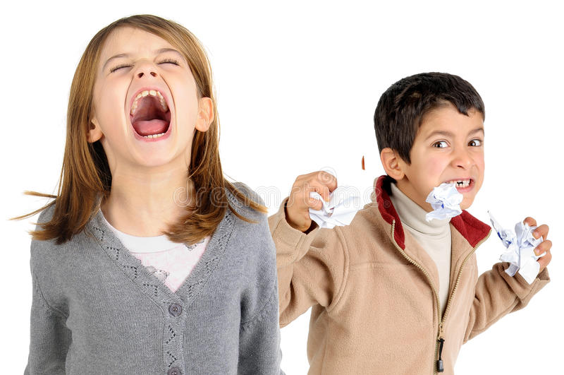 Stressade ungar arkivbilder