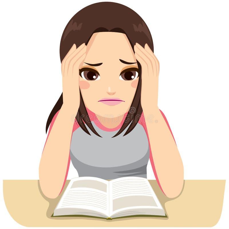 Stressat studera för flicka royaltyfri illustrationer