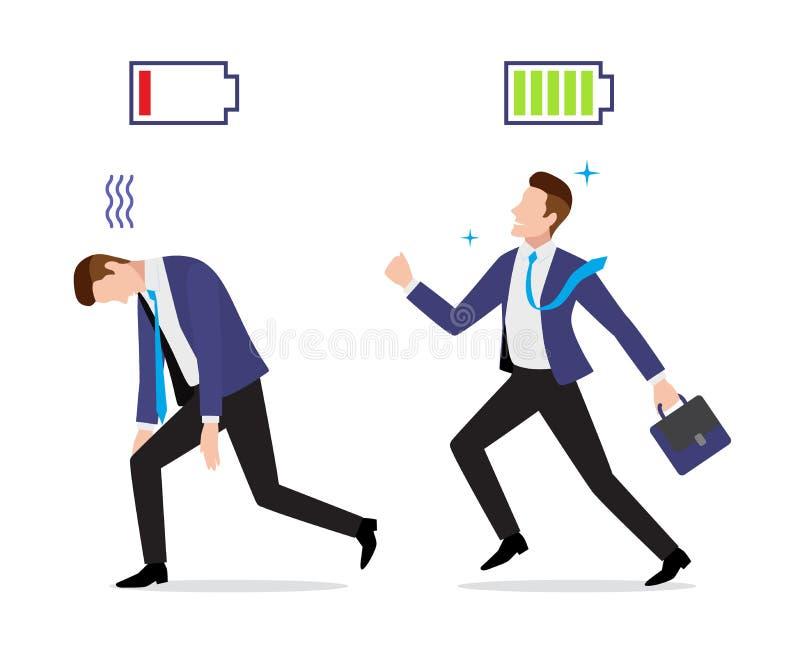 Stressed överansträngd och kraftig affärsman med den laddade och urladdningsbatterisymbolen royaltyfri illustrationer