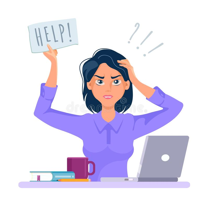 Free Stressed And Frustrated Business Woman Asking For Help At Work. Cartoon Vector Royalty Free Stock Photos - 165552968