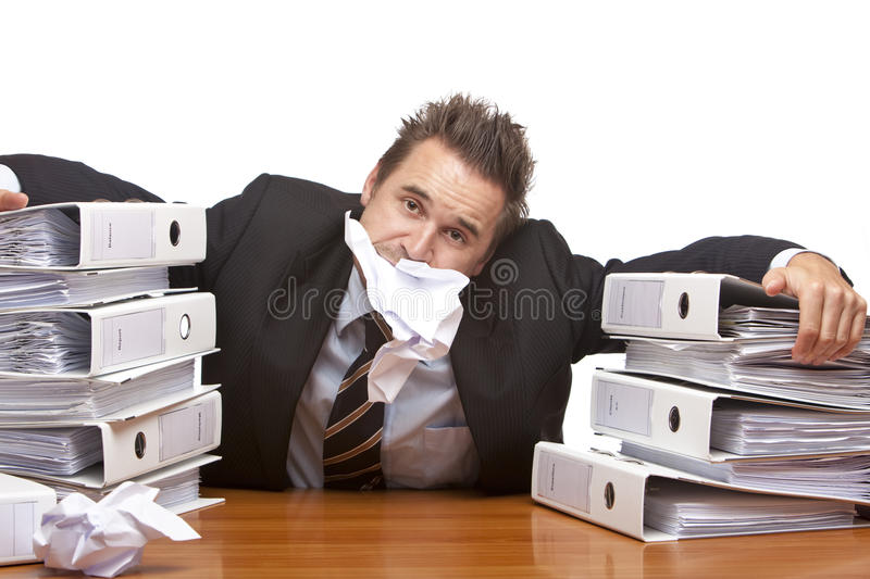 Stressed business man is frustrated in office royalty free stock photos