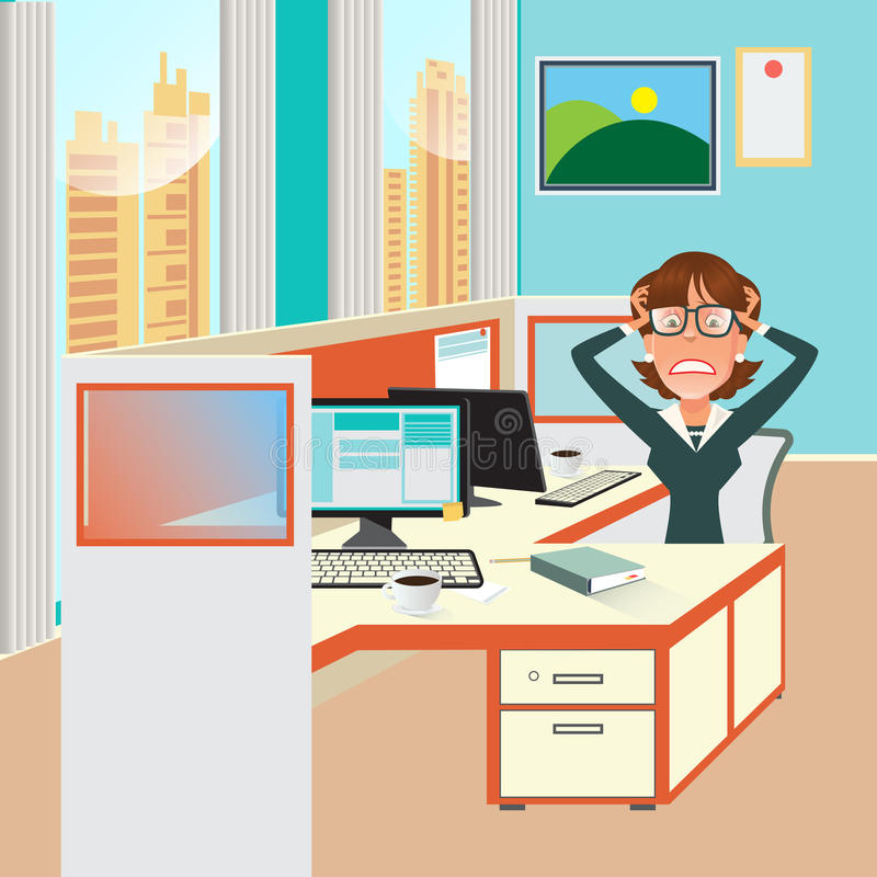 Stressed Business Woman with Documents in Office Work Place. vector illustration