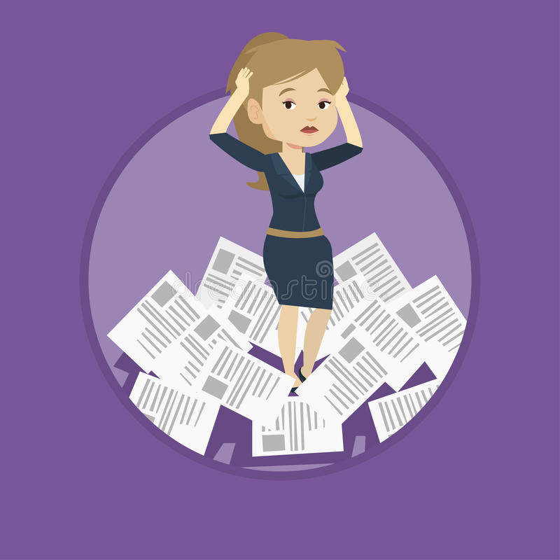 Stressed business woman having lots of work to do. stock illustration