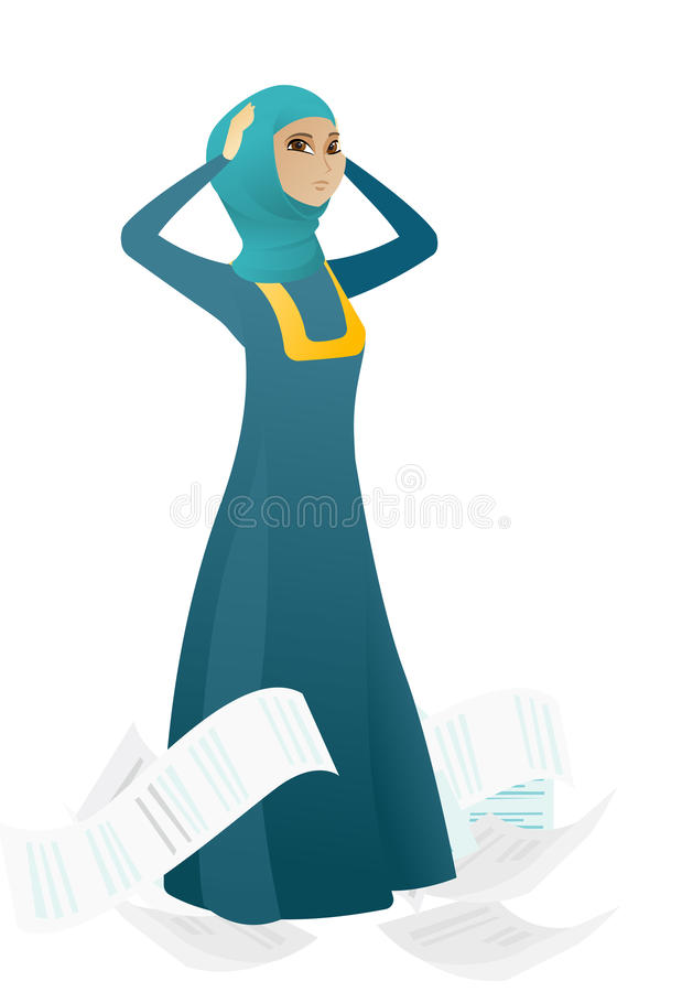 Stressed business woman having lots of work to do. vector illustration