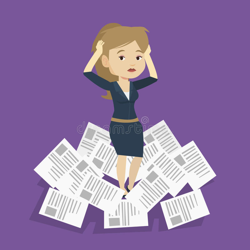 Stressed business woman having lots of work to do. royalty free illustration