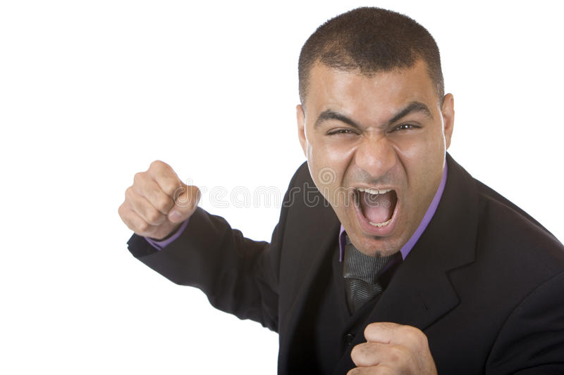 Stressed Businessman is angry stock photography