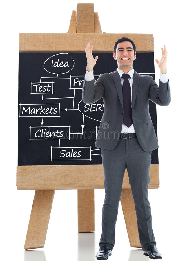 Stressed businessman with arms raised. Composite image of stressed businessman with arms raised stock photography