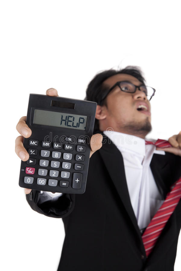 Download Stressed Businessman Holding A Calculator Royalty Free Stock Images - Image: 23101059
