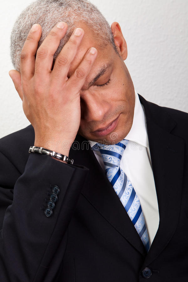 Stressed Businessman Man With Headache Royalty Free Stock Image