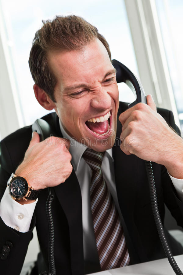 Download Stressed Businessman Screaming On The Phone Stock Photo - Image: 18199890