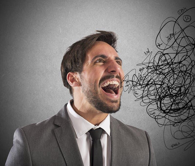 Stressed businessman screams royalty free stock photos