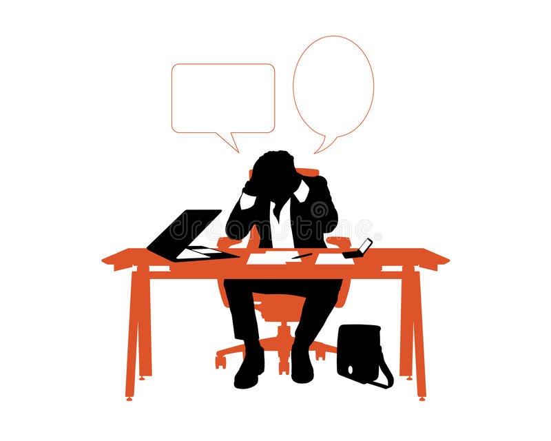 Stressed businessman seated in his office desk stock illustration