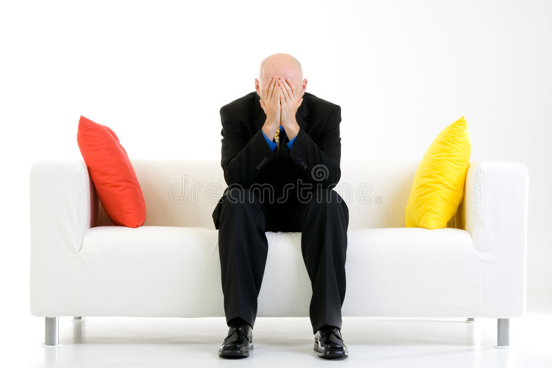 Stressed businessman in suit royalty free stock photos
