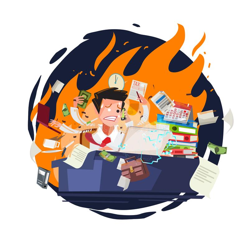Stressed businessman working quickly and busy with fire in background. character design - vector. Illustration stock illustration