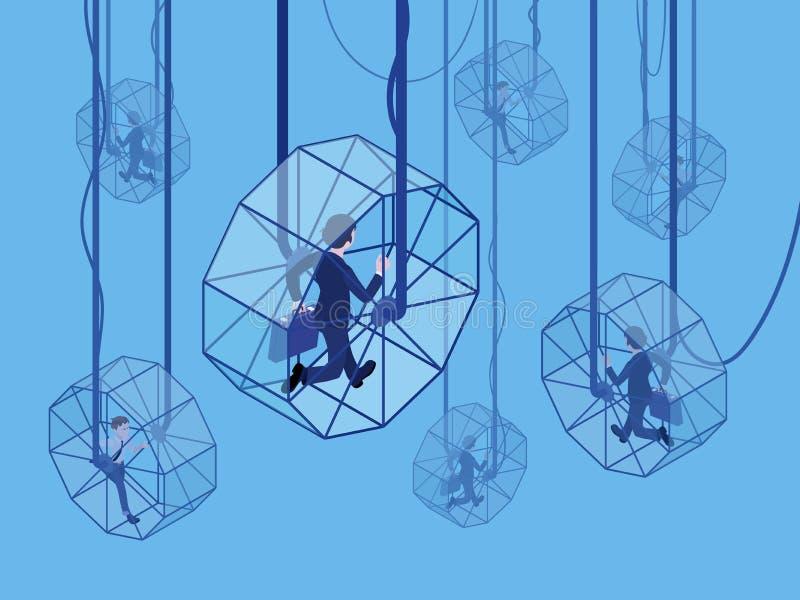 Stressed businessmans running in the rat wheels vector illustration