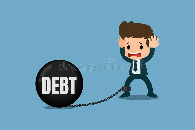 Stressed businessmen concern about debt. It`s look like he chained with the debt metal ball and feel no way to escape or solution. Vector illustration design royalty free illustration