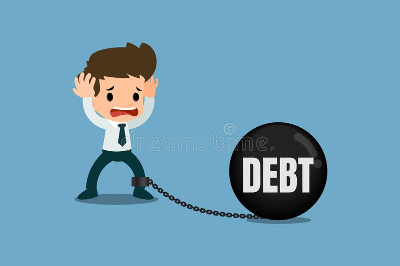 Stressed businessmen concern about debt. It`s look like he chained with the debt metal ball and feel no way to escape or solution. Vector illustration design vector illustration