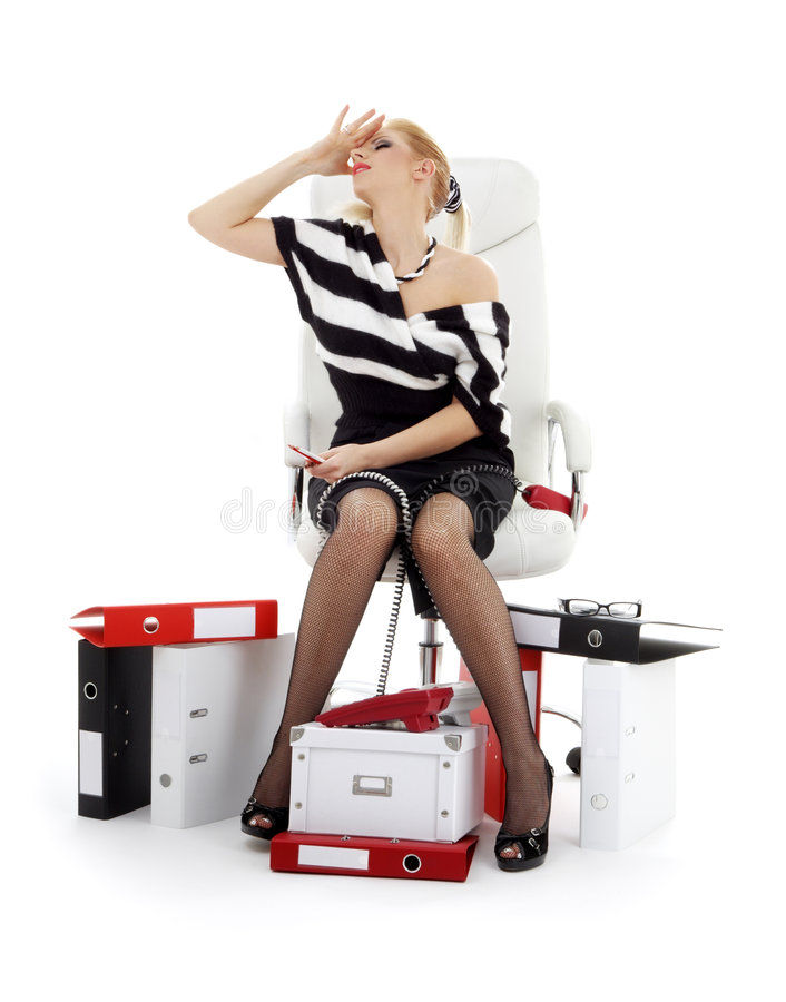 Download Stressed Businesswoman In Chair Over White Stock Photo - Image: 3609530