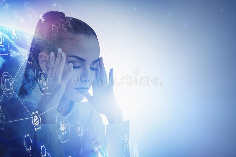 Stressed businesswoman, global business interface stock images