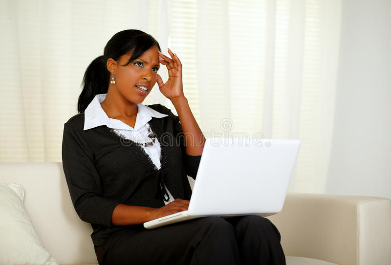 Download Stressed Businesswoman With Headache On Laptop Stock Image - Image: 26091039
