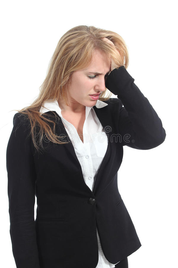 Stressed businesswoman with her hand in forehead. Isolated on a white background stock images