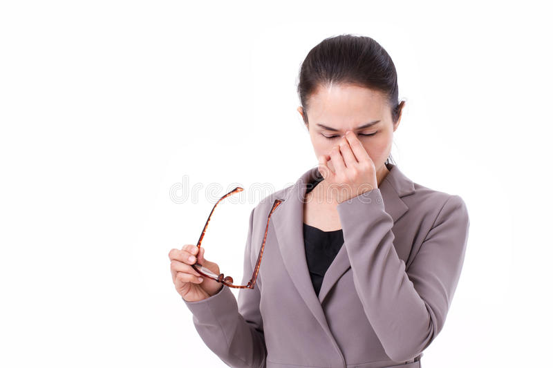 Stressed businesswoman suffers from headache, mental sickness. Overwork royalty free stock images