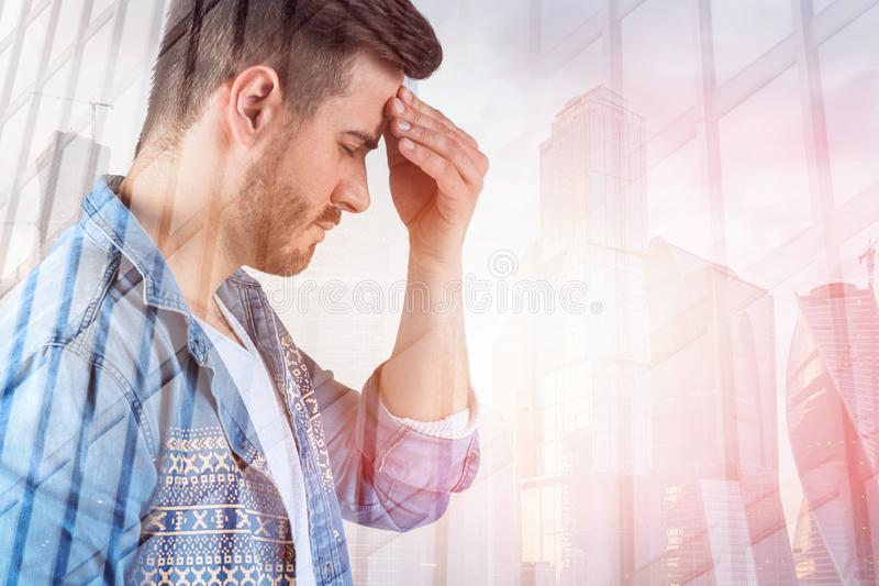 Stressed casual man in city, skyscraper vector illustration
