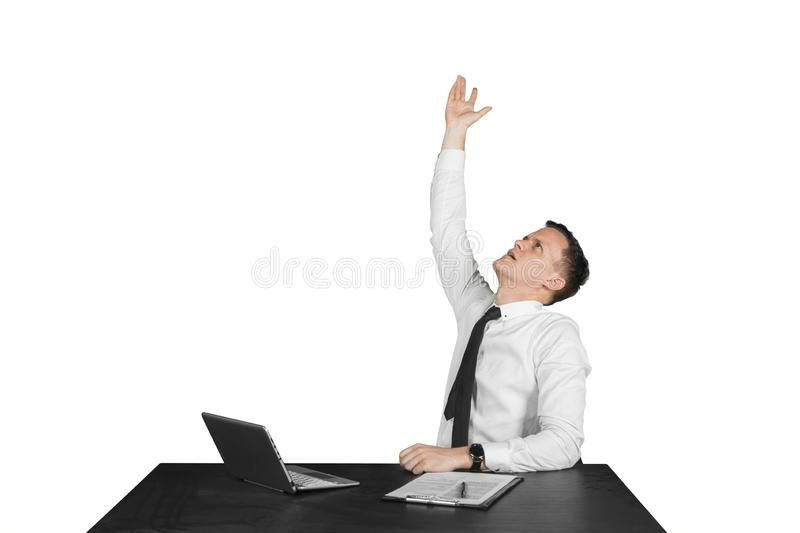 Stressed Caucasian businessman throws something royalty free stock images
