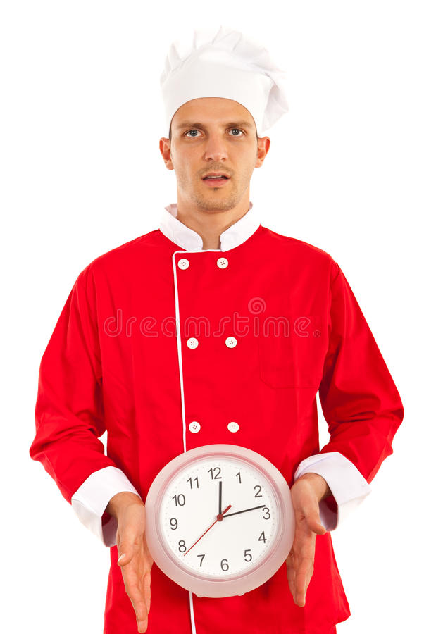 Stressed chef with clock. Stressed chef male showing clock isolated on white background royalty free stock image