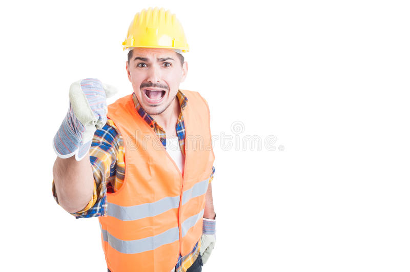 Stressed constructor yelling and standing with fist up. With copypaste on white background royalty free stock photos
