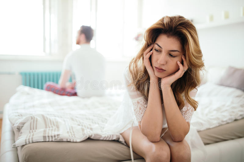 Stressed couple arguing and having marriage problems royalty free stock images