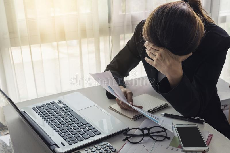Stressed and frustrated asian business woman stock images