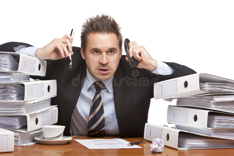 Download Stressed Frustrated Business Man With Telephones Stock Photo - Image: 12955716