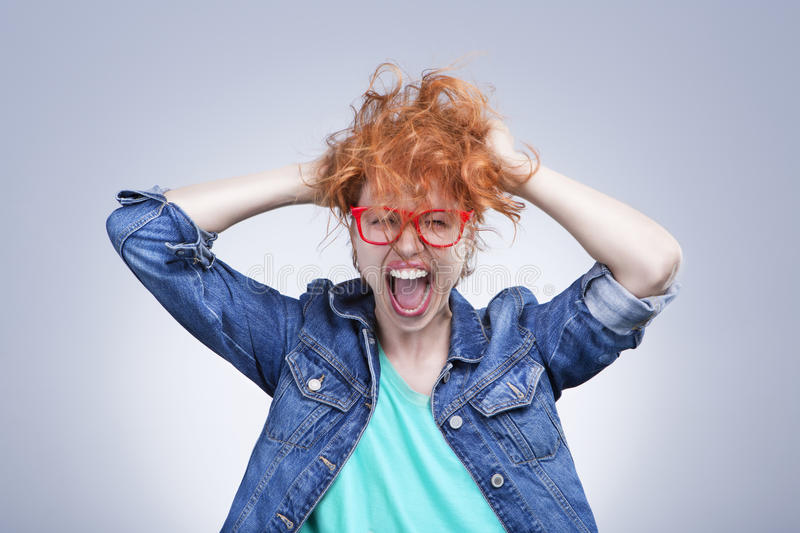 Stressed girl is screaming royalty free stock images