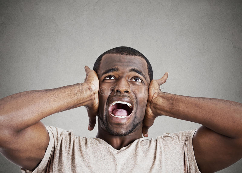 Stressed Man Squeezing His Head, Going Nuts, Screaming